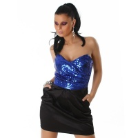PRECIOUS SATIN BANDEAU EVENING DRESS SEQUINS BLUE/BLACK