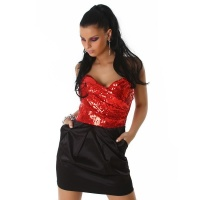 PRECIOUS SATIN BANDEAU EVENING DRESS SEQUINS RED/BLACK UK 14