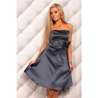 PRECIOUS SATIN BANDEAU DRESS EVENING DRESS WITH LACE...