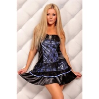 ELEGANT SATIN BANDEAU DRESS EVENING DRESS WITH LACE BLACK/BLUE