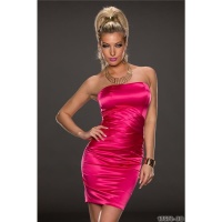 SEXY STRAPLESS SATIN EVENING DRESS SHEATH DRESS FUCHSIA