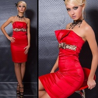 SEXY SATIN SHEATH DRESS RED