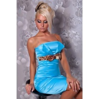 SEXY SATIN BANDEAU SHEATH DRESS EVENING DRESS TURQUOISE