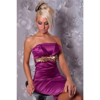 SEXY SATIN BANDEAU SHEATH DRESS EVENING DRESS VIOLET