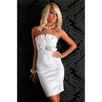 SEXY STRAPLESS SATIN SHEATH DRESS COCKTAIL DRESS WHITE