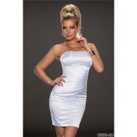 SEXY STRAPLESS SATIN EVENING DRESS SHEATH DRESS WHITE