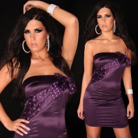 PRECIOUS SATIN BANDEAU DRESS WITH GLASS STONES PURPLE