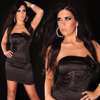 PRECIOUS SATIN BANDEAU DRESS WITH GLASS STONES BLACK