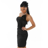 PRECIOUS SATIN BANDEAU DRESS SHEATH DRESS BLACK