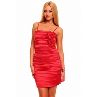 ELEGANT SATIN EVENING DRESS SHEATH DRESS WITH DRAPES RED