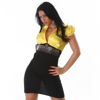 ELEGANT SATIN PENCIL DRESS BUSINESS DRESS BLACK/YELLOW