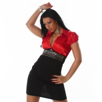 ELEGANT SATIN PENCIL DRESS BUSINESS DRESS BLACK/RED