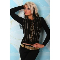 SEXY KNITTED LONG-SLEEVED SHIRT WITH SEQUINS BLACK