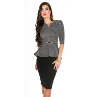NOBLE PEPLUM SHIRT WITH BUCKLE BLACK/WHITE UK 10 (S)