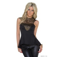 NOBLE WAISTED GLAMOUR LONG TOP WITH EMBROIDERY BLACK/GOLD