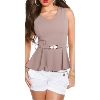 ELEGANT SLIM-FITTED PEPLUM SHIRT WITH BUCKLE CAPPUCCINO