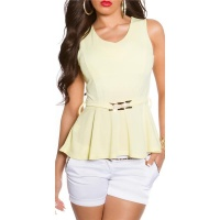 ELEGANT SLIM-FITTED PEPLUM SHIRT WITH BUCKLE YELLOW