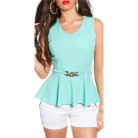 ELEGANT SLIM-FITTED PEPLUM SHIRT WITH BUCKLE MINT GREEN Onesize (UK 8,10,12)