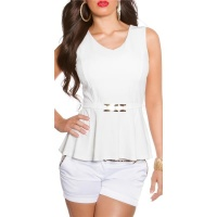 ELEGANT SLIM-FITTED PEPLUM SHIRT WITH BUCKLE WHITE