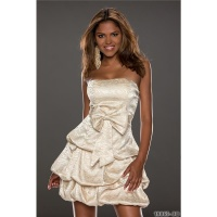 NOBLE STRAPLESS SATIN BALLOON DRESS BANDEAU DRESS CHAMPAGNE