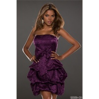 NOBLE STRAPLESS SATIN BALLOON DRESS BANDEAU DRESS PURPLE UK 12 (M)