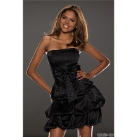 NOBLE STRAPLESS SATIN BALLOON DRESS BANDEAU DRESS BLACK