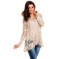 2-PCS TUNIC LONG-SLEEVED SHIRT IN CROCHETED LOOK BEIGE