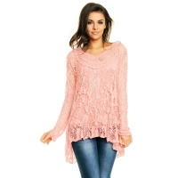 2-PCS TUNIC LONG-SLEEVED SHIRT IN CROCHETED LOOK PINK