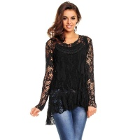 2-PCS TUNIC LONG-SLEEVED SHIRT IN CROCHETED LOOK BLACK