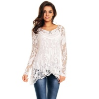 2-PCS TUNIC LONG-SLEEVED SHIRT IN CROCHETED LOOK WHITE