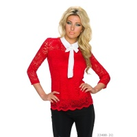 ELEGANT 3/4 SLEEVE BLOUSE MADE OF LACE WITH BOW TIE RED/WHITE