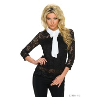 ELEGANT 3/4 SLEEVE BLOUSE MADE OF LACE WITH BOW TIE BLACK/WHITE