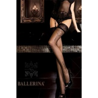 ELEGANT BALLERINA GLAMOUR HOLD-UP NYLON STOCKINGS WITH LACE TOP BLACK UK 12/14 (L/XL)