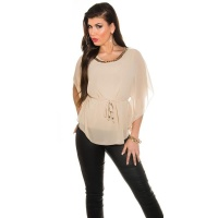 ELEGANT CHIFFON-BLOUSE WITH BAT SLEEVES AND CHAIN BEIGE Onesize (UK 8,10,12)