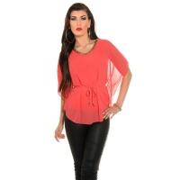 ELEGANT CHIFFON-BLOUSE WITH BAT SLEEVES AND CHAIN CORAL Onesize (UK 8,10,12)