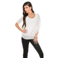 ELEGANT CHIFFON-BLOUSE WITH BAT SLEEVES AND CHAIN WHITE