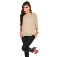 ELEGANT CHIFFON-BLOUSE WITH BATWING SLEEVES AND RHINESTONES BEIGE