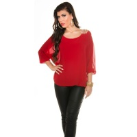 ELEGANT CHIFFON-BLOUSE WITH BAT SLEEVES AND RHINESTONES RED