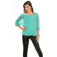 ELEGANT CHIFFON-BLOUSE WITH BAT SLEEVES AND RHINESTONES TURQUOISE Onesize (UK 8,10,12)