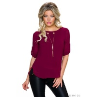 ELEGANT CHIFFON BLOUSE WITH GOLD-COLOURED CHAINELET WINE-RED