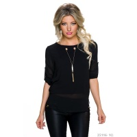 ELEGANT CHIFFON BLOUSE WITH GOLD-COLOURED CHAINLET BLACK