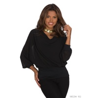 ELEGANT LONG-SLEEVED CHIFFON-BLOUSE WITH COWL-NECK BLACK