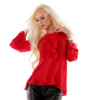 ELEGANT CHIFFON BLOUSE WITH BOW TIE AND FLOUNCES RED