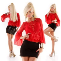 ELEGANT TRUMPET SLEEVE CHIFFON BLOUSE INCL. STRAPPY TOP RED