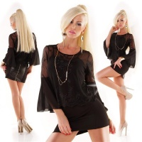 ELEGANT TRUMPET SLEEVE CHIFFON BLOUSE INCL. STRAPPY TOP BLACK