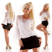 ELEGANT TRUMPET SLEEVE CHIFFON BLOUSE INCL. STRAPPY TOP...