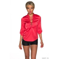 ELEGANT LONG-SLEEVED LADIES SATIN BLOUSE WITH LACING RED