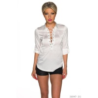 ELEGANT LONG-SLEEVED LADIES SATIN BLOUSE WITH LACING WHITE