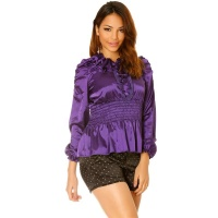 ELEGANT LONG-SLEEVED SATIN BLOUSE WITH VOLANT COLLAR PURPLE