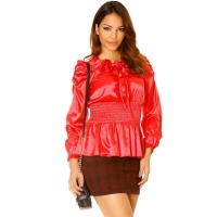ELEGANT LONG-SLEEVED SATIN BLOUSE WITH VOLANT COLLAR RED